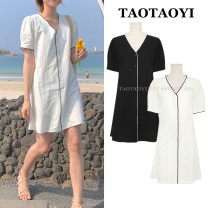 Dress Summer 2021 Off white, black S,M,L,XL Middle-skirt singleton  Short sleeve commute V-neck Loose waist Solid color Single breasted A-line skirt puff sleeve Others 18-24 years old Type H Korean version Button, button 71% (inclusive) - 80% (inclusive) brocade hemp