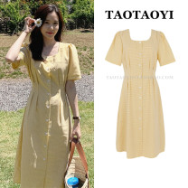 Dress Summer 2021 yellow S,M,L,XL Mid length dress singleton  Short sleeve commute square neck High waist lattice Single breasted A-line skirt routine 18-24 years old Type A Korean version Bows, folds, lacing, stitching, strapping, buttons 51% (inclusive) - 70% (inclusive) hemp
