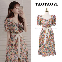 Dress Summer 2021 Picture color S,M,L Miniskirt singleton  Short sleeve commute square neck High waist Decor zipper A-line skirt Pile sleeve Others 18-24 years old Type A Korean version Bowknot, tuck, open back, fold, lace up, stitching, bandage, zipper, printing 71% (inclusive) - 80% (inclusive)