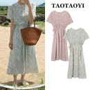 Dress Summer 2021 Off white, pink S,M,L,XL longuette singleton  Short sleeve commute Crew neck Elastic waist Broken flowers A button A-line skirt puff sleeve Others 18-24 years old Type A Korean version 51% (inclusive) - 70% (inclusive) polyester fiber