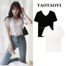 T-shirt White, black S,M,L Summer 2021 Short sleeve V-neck Straight cylinder Regular routine commute cotton 71% (inclusive) - 85% (inclusive) 18-24 years old Korean version youth Solid color thread