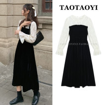 Dress Winter 2020 black S,M,L,XL Mid length dress Fake two pieces Long sleeves commute stand collar High waist Solid color A button A-line skirt pagoda sleeve Others 18-24 years old Type A court Lotus edge, Auricularia auricula, Gouhua, hollow out, splicing, lace 51% (inclusive) - 70% (inclusive)