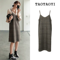 Dress Winter 2020 Picture color S,M,L,XL Mid length dress singleton  Long sleeves commute V-neck High waist lattice Socket One pace skirt other camisole Type H Other / other Korean version Open back, asymmetric, strap, print TTY831408336 51% (inclusive) - 70% (inclusive) other other