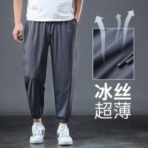 Casual pants Others Youth fashion Black [hem], gray [hem], black [hem zipper pocket], gray [hem zipper pocket], camouflage [ice silk], black [mesh], camouflage [mesh], black [straight tube], gray [straight tube] S,M,L,XL,2XL,3XL,4XL,5XL,6XL Ninth pants motion easy High shot summer Large size tide