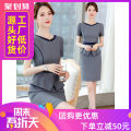 Dress Summer of 2019 Gray, black S,M,L,XL,2XL,3XL Short skirt Fake two pieces Short sleeve commute other middle-waisted Solid color zipper One pace skirt routine Others 25-29 years old Type X Other Ol style Q116 51% (inclusive) - 70% (inclusive) brocade polyester fiber