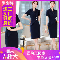 Dress Summer of 2019 Dress S,M,L,XL,2XL,3XL Short skirt singleton  Short sleeve commute tailored collar middle-waisted Solid color Single row two buttons One pace skirt routine Others 25-29 years old Type X Other Ol style Q121 71% (inclusive) - 80% (inclusive) brocade polyester fiber