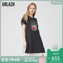 Dress Spring of 2019 black 155/80A 160/84A 165/88A 170/92A Middle-skirt Two piece set Short sleeve commute Crew neck Loose waist letter Socket other other Others 25-29 years old Type H Urlazh / Youlan Ol style Gauze LI1DR32 51% (inclusive) - 70% (inclusive) cotton