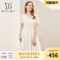 Dress Summer 2021 white 32/150/XS 34/155/S 36/160/M 38/165/L 40/170/XL Mid length dress singleton  Short sleeve commute V-neck High waist Socket Irregular skirt puff sleeve 30-34 years old Type X XG / snow song lady Hollowing out XG204051A451 More than 95% other cotton Cotton 100%