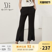 Casual pants black 32/150/XS 34/155/S 36/160/M 38/165/L 40/170/XL Summer 2021 Ninth pants Flared trousers Natural waist commute routine 30-34 years old XG202008A290 XG / snow song Ol style pocket polyester fiber Polyester 100%