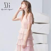 Dress Summer 2021 Pink 32/150/XS 34/155/S 36/160/M 38/165/L 40/170/XL Mid length dress Fake two pieces Short sleeve commute other High waist Solid color Socket Ruffle Skirt routine 30-34 years old Type X XG / snow song lady Cut out lace lace XG204007A316 51% (inclusive) - 70% (inclusive) Chiffon