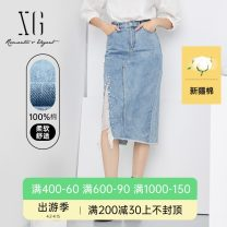 skirt Spring 2021 34/155/S 36/160/M 38/165/L 40/170/XL blue Mid length dress commute Natural waist Type A 30-34 years old More than 95% other XG / snow song cotton Pocket nail beads lady Cotton 100% Same model in shopping mall (sold online and offline)