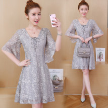 Women's large Summer of 2018 grey Large XL Large XXL large XXXL large XXXXL large Dress singleton  street Self cultivation thin Socket Short sleeve other V-neck Medium length Cotton others Three dimensional cutting pagoda sleeve fifty-five thousand one hundred and twenty-eight Cobaya zipper