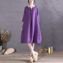 Dress Spring 2021 violet M, L Mid length dress singleton  Long sleeves commute Crew neck Loose waist Solid color Socket A-line skirt Type A The spare time literature pocket 51% (inclusive) - 70% (inclusive) hemp