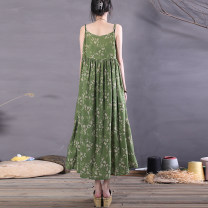 Dress Spring 2021 Broken flowers on a green background, purple flowers Average size Mid length dress singleton  Sleeveless commute Crew neck Loose waist Decor Socket A-line skirt camisole Type A The spare time literature printing 51% (inclusive) - 70% (inclusive) cotton