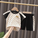 suit Cat after cat Off white, black 80cm,90cm,100cm,110cm,120cm male summer leisure time Short sleeve + pants 2 pieces Thin money No model Socket nothing Cartoon animation cotton children Expression of love Bamboo fiber 95% polyurethane elastic fiber (spandex) 5% Chinese Mainland