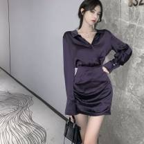 Dress Autumn 2020 violet S, M Short skirt singleton  Long sleeves commute Polo collar High waist Socket A-line skirt routine Others 18-24 years old Type A Retro 31% (inclusive) - 50% (inclusive) polyester fiber
