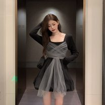 Dress Autumn 2020 black Average size Short skirt singleton  Long sleeves commute square neck High waist Socket A-line skirt routine Others 18-24 years old Type A Korean version 31% (inclusive) - 50% (inclusive) other cotton