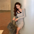 Dress Autumn 2020 Grey, pink, black Average size Short skirt singleton  Long sleeves commute Crew neck middle-waisted Solid color Socket A-line skirt routine Others 18-24 years old Type A Korean version 8376# 31% (inclusive) - 50% (inclusive) cotton