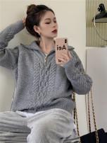 Fashion suit Winter 2020 Average size Grey sweater, corduroy wide leg pants 18-25 years old
