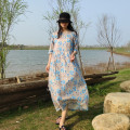 Dress Summer 2020 Light grey XS,S,M,L,XL Mid length dress three quarter sleeve commute Loose waist Decor A-line skirt Others Type A There are willows literature printing More than 95% hemp