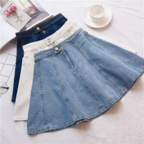 skirt Summer 2020 XS,S,M,L,XL Dark blue, light blue, white Short skirt Versatile High waist A-line skirt Solid color Type A 91% (inclusive) - 95% (inclusive) Denim cotton Old, button