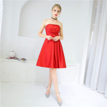 Dress / evening wear Wedding, adulthood, party, company annual meeting, performance, routine, appointment Xs, s, m, l, XL, custom Red, lavender Simplicity Short skirt middle-waisted Summer of 2018 Skirt hem Chest type zipper Satin 18-25 years old D001 Sleeveless flower Solid color Other / other other