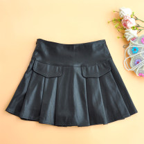 skirt Autumn of 2019 M black Short skirt Versatile High waist Pleated skirt Solid color Type A 18-24 years old 51% (inclusive) - 70% (inclusive) other PU zipper 181g / m ^ 2 (including) - 200g / m ^ 2 (including)
