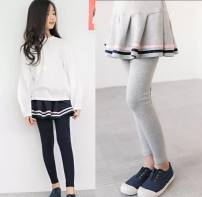 trousers What are you doing female 100cm,110cm,120cm,130cm,140cm Gray, black spring and autumn trousers Korean version There are models in the real shooting Leggings Leather belt middle-waisted cotton Don't open the crotch Cotton 95% bamboo fiber 5% other Chinese Mainland Guangdong Province