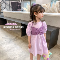 Dress violet female Class two 100cm (recommended height is about 100), 110cm (recommended height is 100-110), 120cm (recommended height is 110-120), 130cm (recommended height is 120-130), 140cm (recommended height is 130-140) Other 100% summer Korean version Short sleeve Solid color other other