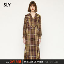 Dress Winter 2020 Medium brown 067 Beige 070 medium gray 167 00001 00002 Mid length dress singleton  Long sleeves commute High waist stripe Single breasted Pleated skirt routine 18-24 years old Type X Sly Retro Button 038DAH33-6460 More than 95% other Other 100%