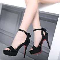 Sandals 34 35 36 37 38 39 Black heel height 13cm black heel height 10cm Other / other Suede Barefoot Fine heel Super high heel (over 8cm) Summer of 2018 Flat buckle Korean version Solid color Adhesive shoes Youth (18-40 years old) rubber daily Roman style Low Gang Lateral space PU PU Shaving