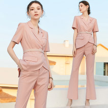 Professional pants suit Pink, pink, pink, pink S,M,L,XL,XXL Summer 2020 Jacket, other styles Short sleeve CP809-Y trousers AD 25-35 years old 96% and above polyester fiber