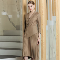 Dress Spring 2020 khaki S,M,L,XL longuette singleton  Long sleeves commute tailored collar High waist Solid color Socket Pleated skirt other Others 25-29 years old Type X AD Ol style Pocket, stitching, asymmetry Q383-Y More than 95% other polyester fiber