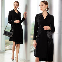 Dress Spring 2020 Black, white S,M,L,XL Middle-skirt singleton  Long sleeves commute tailored collar High waist Solid color double-breasted Pleated skirt routine Others 30-34 years old Type X AD Ol style Fold, pocket, lace up, asymmetric, button Q341-B More than 95% polyester fiber