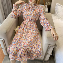 Dress Spring 2021 White, blue S,M,L,XL,2XL Short skirt singleton  Long sleeves commute Crew neck Elastic waist Decor Socket Ruffle Skirt pagoda sleeve Others 18-24 years old Type A Printed, stitched, pleated 71% (inclusive) - 80% (inclusive) other polyester fiber