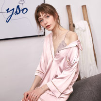 Nightdress YSO M L S Simplicity three quarter sleeve Leisure home Middle-skirt summer Solid color youth Small lapel other Summer of 2019 Polyester 95% polyurethane elastic fiber (spandex) 5% Pure e-commerce (online only)