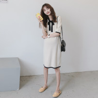Dress Nuochu's favorite Apricot_ Ice silk, light pink_ Ice silk, black_ Ice silk, black_ Three button ice silk Lapel skirt, apricot_ Three button ice silk Lapel skirt Average size Korean version Short sleeve have more cash than can be accounted for summer routine Solid color