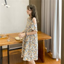 Dress Nuochu's favorite Average size Korean version Short sleeve Medium length summer Crew neck Decor Chiffon