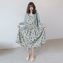 suit Other / other Leaf cotton and hemp vest skirt, light green ice silk cardigan, thin lotus green cardigan + leaf cotton and hemp vest skirt Average size Retro Long sleeve + skirt spring and autumn routine Dot