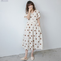 Dress Nuochu's favorite Beige wave point_ 2.11 deduction Average size Korean version Short sleeve have more cash than can be accounted for summer Crew neck Dot Cotton and hemp