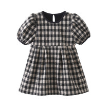 Dress Black and white plaid velvet female Other / other The suitable height for size 3 or 80 is about 80cm, for size 5 or 90 is about 90cm, for size 7 or 100 is about 100cm, for size 9 or 110 is about 110cm, for size 11 or 120 is about 120cm Cotton 90% other 10% winter lady Long sleeves lattice