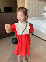 Dress gules female Other / other Cotton 90% other 10% summer lady Short sleeve Solid color cotton Lotus leaf edge TM-81296-03 Class B 2 years old, 3 years old, 4 years old, 5 years old, 6 years old, 7 years old, 8 years old Chinese Mainland