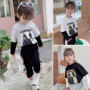 T-shirt Black, gray, white Other / other The suitable height for size 5 or 90 is about 90cm, for size 7 or 100 is about 100cm, for size 9 or 110 is about 110cm, for size 11 or 120 is about 120cm, for size 13 or 130 is about 130cm female spring and autumn Long sleeves Crew neck leisure time nothing