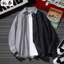 shirt Youth fashion Ramo / rambling S 110-120, m 120-140, l 140-155, XL 155-170, 2XL 170-185, 3XL 185-195 Black with gray, blue with white, big stripe blue, black 695, white 695 routine Pointed collar (regular) Long sleeves easy daily autumn 19C354 youth Cotton 60.5% polyester 39.5% tide 2019 stripe