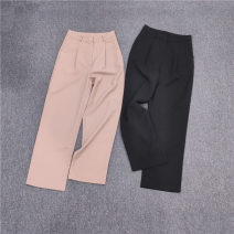 Casual pants Lotus, black M, L Autumn of 2019 trousers Straight pants High waist commute thickening 51% (inclusive) - 70% (inclusive) Korean version polyester fiber
