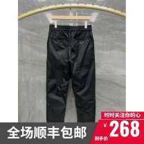 Casual pants Others Fashion City black M,L,XL,2XL thin trousers Other leisure Straight cylinder Micro bomb summer youth Simplicity in Europe and America 2021 middle-waisted Little feet Sports pants Pocket decoration No iron treatment Solid color Fashion brand