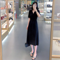 Dress Summer 2020 black S,M,L,XL,2XL Mid length dress singleton  Short sleeve commute V-neck Elastic waist Solid color Socket Big swing routine Others Type X Other / other Korean version Pleated, three-dimensional decoration 30% and below Chiffon other