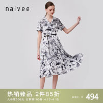 Dress Summer 2020 black and white 155/80A/S 160/84A/M 165/88A/L 170/92A/XL Mid length dress singleton  Short sleeve commute tailored collar High waist Single breasted Pleated skirt routine 25-29 years old Type X Naivie Ol style Button printing More than 95% polyester fiber Polyester 100%