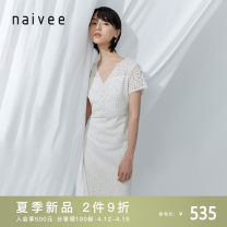 Dress Summer 2021 155/80A/S 160/84A/M 165/88A/L 170/92A/XL Mid length dress singleton  Short sleeve commute V-neck Broken flowers zipper other other 25-29 years old Type A Naivie Retro More than 95% other polyester fiber Polyester 100% Same model in shopping mall (sold online and offline)
