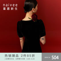 Dress Spring 2021 Black spare 155/80A 160/84A 165/88A 170/92A longuette singleton  Short sleeve commute other Socket other other 25-29 years old Type X Naivie Ol style More than 95% polyester fiber Polyester 97% polyurethane elastic fiber (spandex) 3% Pure e-commerce (online only)
